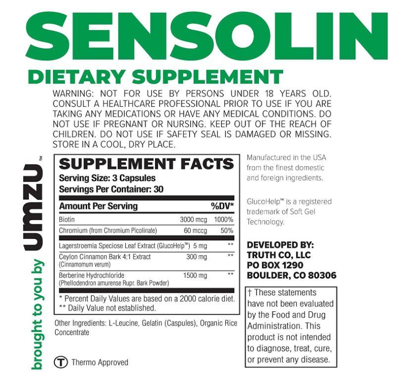 sensolin dietary supplement ingredients